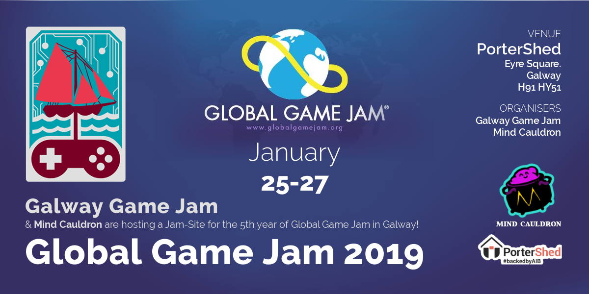 Global Game Jam 19 Banner with Mind Cauldron and Galway Game Jam