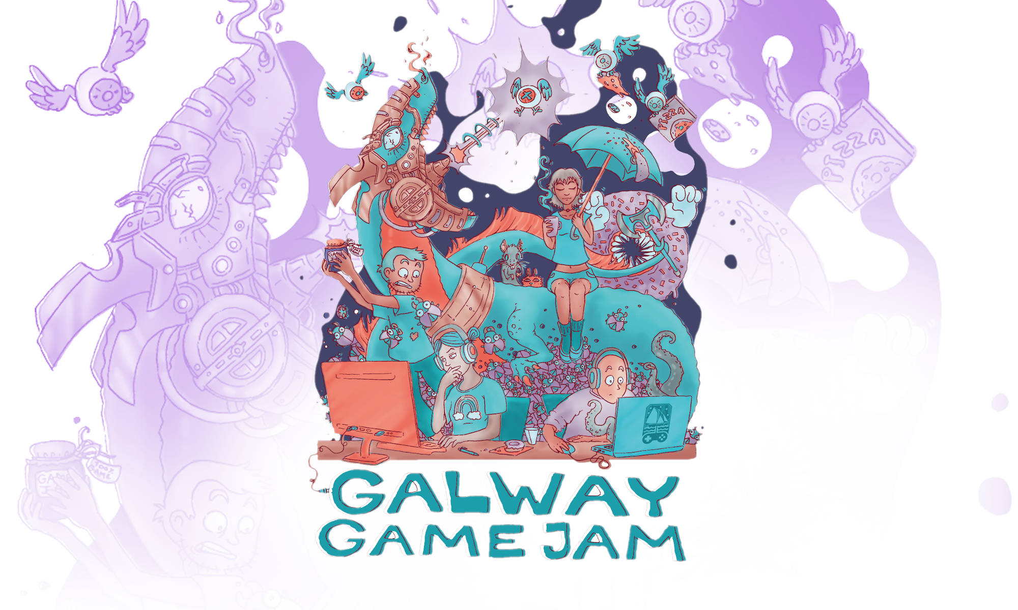 Galway Game Jam 14 Poster. Original artwork by Tia Friedel, GreenRat